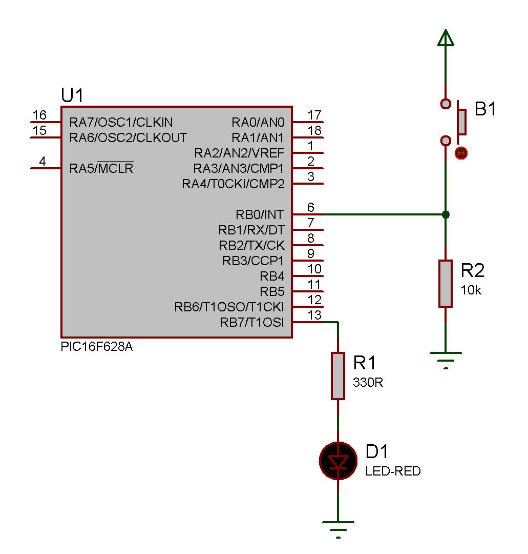 Esquema elétrico para teste de borda de interrupção